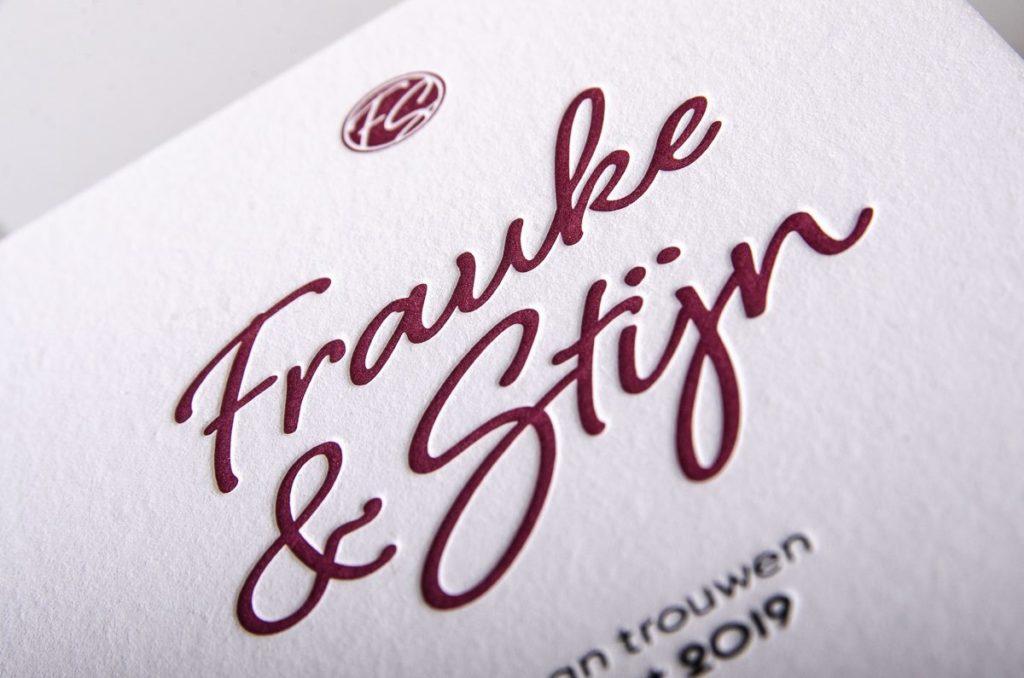 Trouwuitnodiging Frauke & Stijn