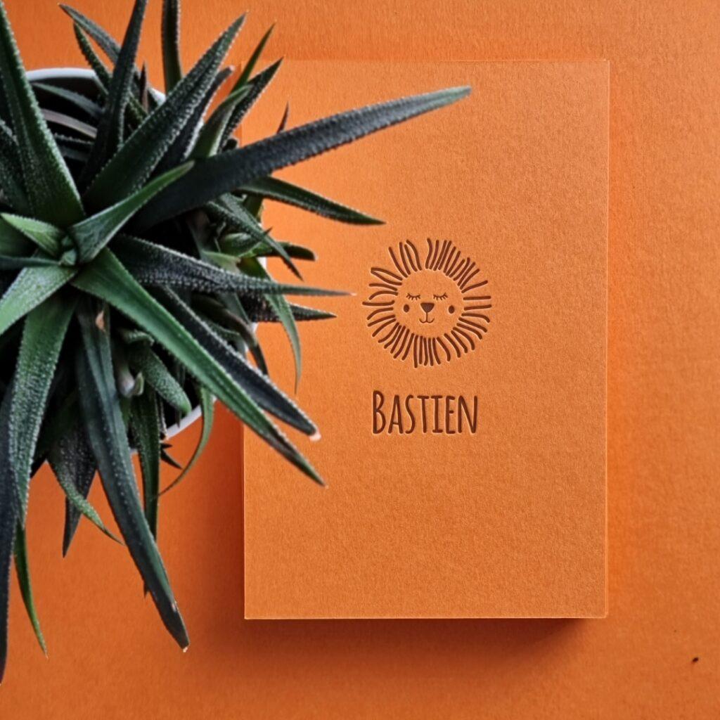 Bastien Letterpress geboortekaart